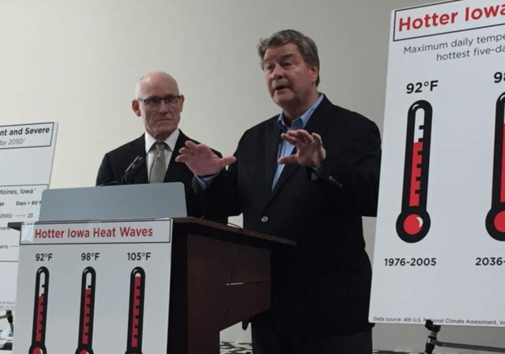 Dr. Thorne and Dr. Schnoor at a press conference about Iowa Climate Change Statement